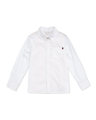 Logo-Print Yoke Button-Front Shirt, White/Straw, Sizes NB-36 Months