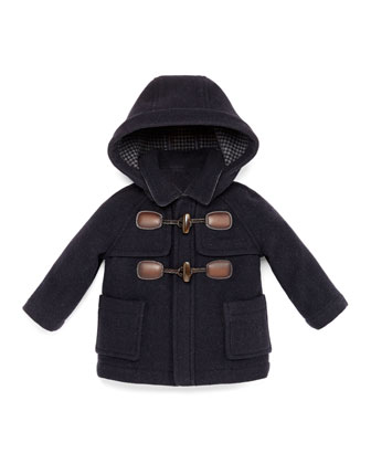 Hooded Wool-Blend Toggle Coat, Navy