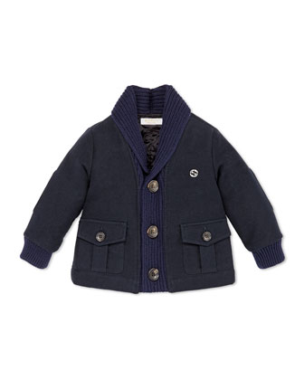Shawl-Collar Jacket, Navy, 12-36 Months