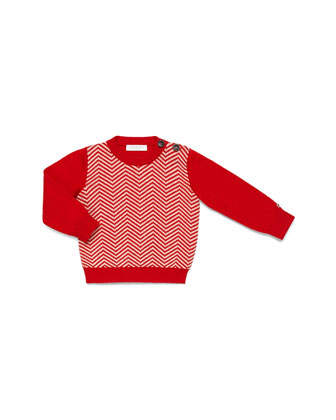 Crewneck Herringbone Sweater, Red