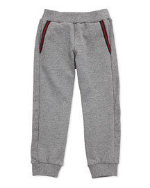 Jersey Track Pants With Gucci Logo, Gray, Sizes NB-36 Months