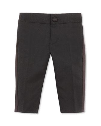 Tuxedo Pants with Satin Stripe, Black, 3-36 Months