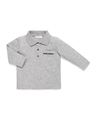 Long-Sleeve Web-Detail Polo, Gray, 0-36 Months