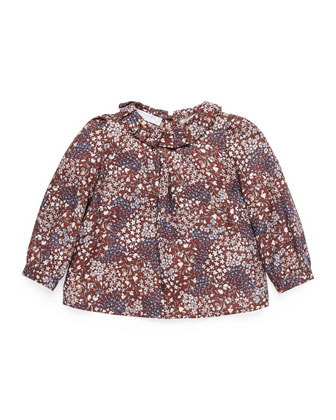 Freesia-Print Long-Sleeve Shirt, Burgundy, Girls' 0-36 Months