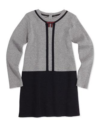 Wool Contrast Long-Sleeve Dress, Gray, 0-36 Months