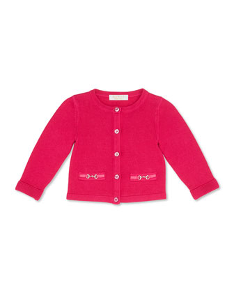 Knit Horsebit Cardigan, Fuchsia, Girls' 0-36 Months