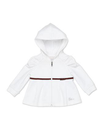 Zip Sweatshirt with Web Detail, White, Girls' 0-36 Months