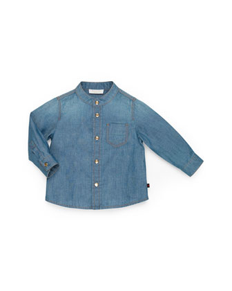 Button-Down Denim Shirt, Girls' 0-36 Months