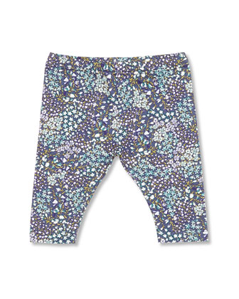Freesia-Print Leggings, Blue, Girls' 0-36 Months