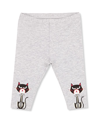 Cat-Print Leggings, Gray, Girls' 0-36 Months