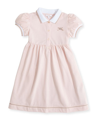 Web-Detail Short-Sleeve Polo Dress, Pink, 0-36 Months