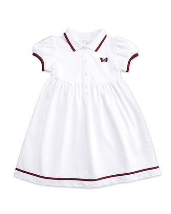 Web-Detail Short-Sleeve Polo Dress, White, 0-36 Months
