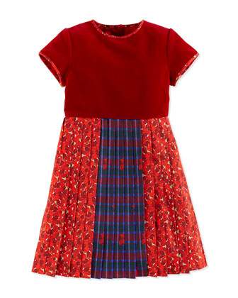 Pleated Mix-Print Party Dress, Crimson, Girls' 2Y-14Y