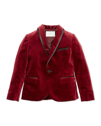 Velvet & Satin Jacket, Cranberry, Girls' Sizes 4-12