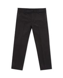Wool-Blend Pants with Satin Trim, Black, Kids' Sizes 4-12