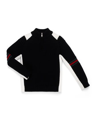 Zip-Mock-Neck Sweater, Black/White, Kids' 4-12