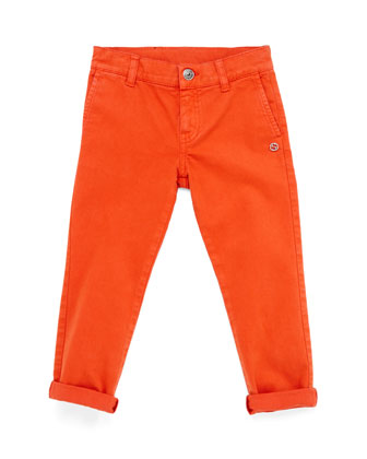 Stretch-Cotton Pants, Tangerine, Kids' Sizes 4-12