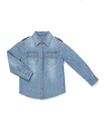 Long-Sleeve Button-Down Denim Shirt, Kids' Sizes 4-12
