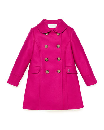 Double-Breasted Wool Coat, Fuchsia, Girls' Sizes 4-12