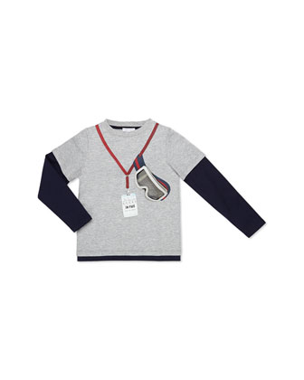 Long-Sleeve Ski Tee, Gray, Kids' Sizes 4-12