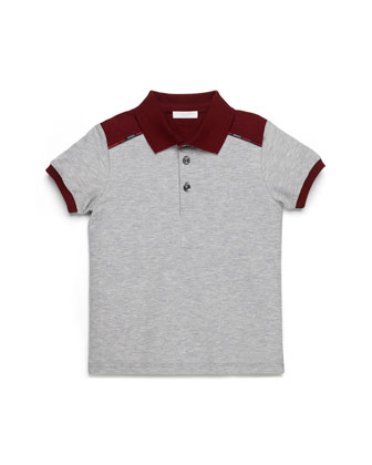 Short-Sleeve Colorblock Polo, Gray/Burgundy, Kids' Sizes 4-12