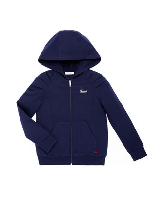 Stretch-Cotton Zip Hoodie, Blue, 4Y-12Y