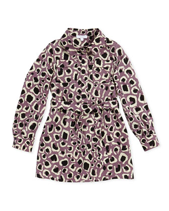 Leopard-Print Faille Shirtdress, Lilac, Girls' Sizes 4-12