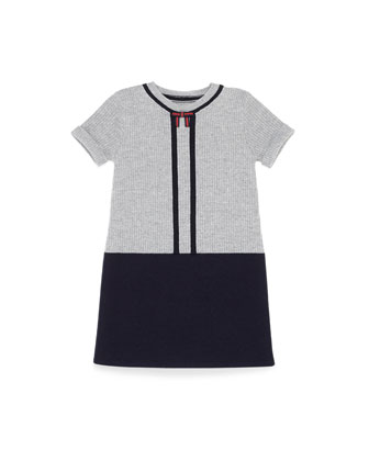 Short-Sleeve Wool Sweater Dress, Blue, Girls' 4-12