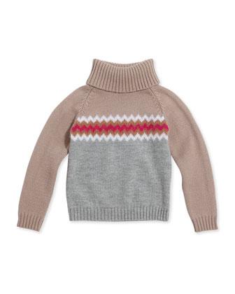 Chevron Knit Turtleneck, Girls' Sizes 4-12