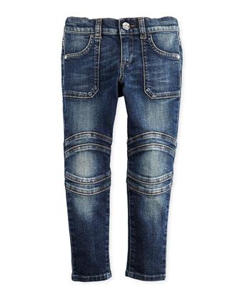 Stretch Skinny Biker Jeans, 4-12