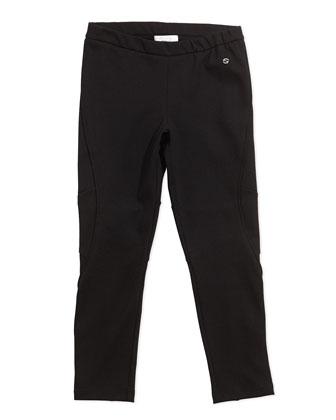 Stretch-Jersey Leggings, Black, Girls' 4-12