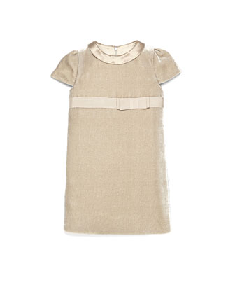 Short-Sleeve Velvet Dress, Camel, 4Y-12Y