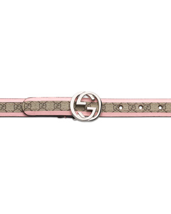 GG Plus Belt with Interlocking G Buckle, Pink, Girls' S-L