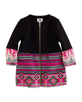 Geometric Jacquard Zip Coat, Black/Pink, Girls' Sizes 8-12