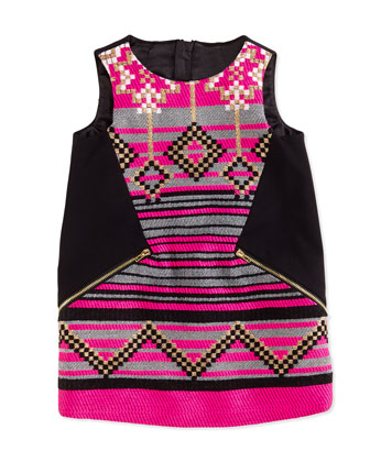 Jacquard/Ponte Shift Dress, Black/Pink, Girls' Sizes 2-7