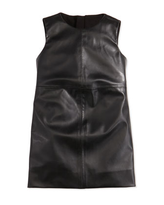 Faux-Leather Paneled Dress, Black, Girls' Sizes 2-7