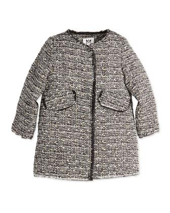 Metallic Tweed A-Line Coat, Girls' 2-7