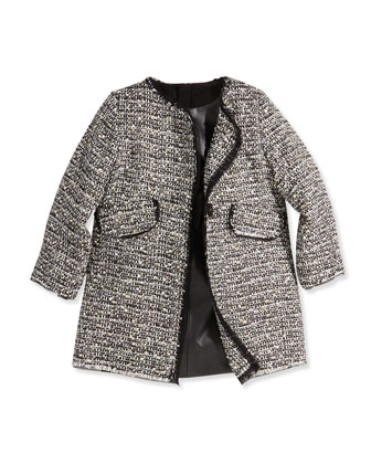 Metallic Tweed A-Line Coat, Girls' 8-12