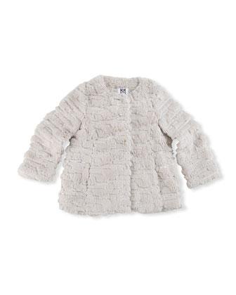 Sequin Faux-Fur Coat, Girls' 8-12