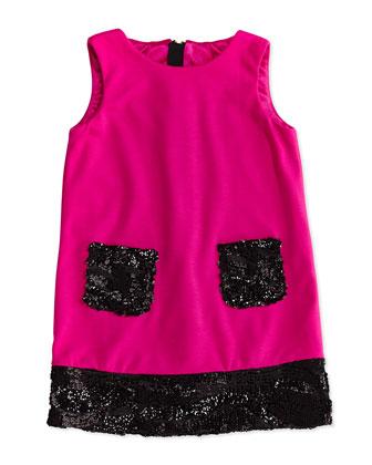 Sequin Trimmed Shift Dress, Pink/Black, Sizes 8-12