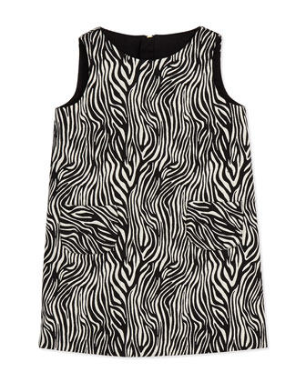 Zebra Print Pocket Shift Dress, Black/White, Sizes 8-12