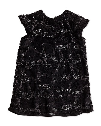 Sequin Cap-Sleeve Dress, Girls' 2-7
