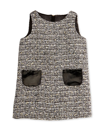 Metallic Tweed Shift Dress, Girls' 2-7