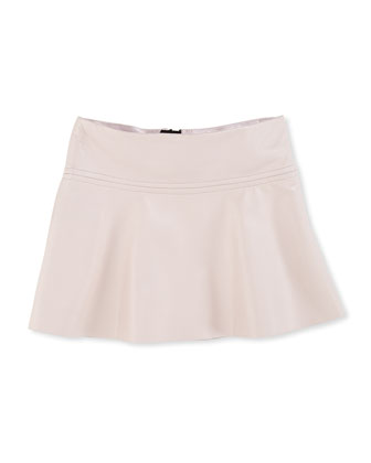 Emmy Faux-Leather Flare Skirt, Blush, Sizes 2-7