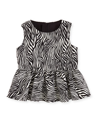Zebra Peplum Top, Girls' 2-7