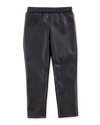 Faux-Leather Leggings, Black, Girls' 8-12