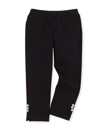 Ponte Rhinestone-Button Leggings, Black, Sizes 2-7