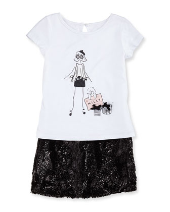Wavy Sequin Miniskirt, Girls' 8-12