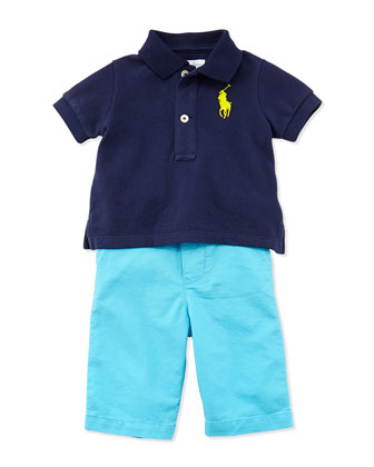 Polo Shirt & Preppy Shorts Set, Newport Navy, Boys' 9-24 Months