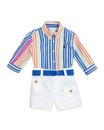 Poplin Striped Button-Front Shirt & Shorts Set, Sizes 9-24 Months